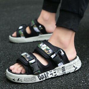 Men's Sporty Summer Beach Sandals Camo Flat Heel Punk Outdoor Slippers Shoes