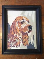 """Vintage Paint By Number Spaniel Dog Framed 15 x 12"""" Mid Century"""