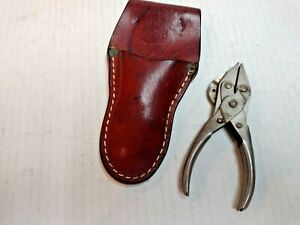 Vintage Sargent & Co. Fishing Pliers Wire Cutters with Leather Sheath