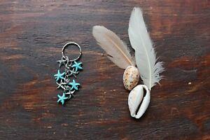 Gorgeous Handmade Turquoise & Silver Star Starfish Ocean Beach Charm Keyring