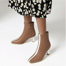 Womens 2020 Fashion PU Leather Two Tone High Heel Bootie Ankle Boots Shoes