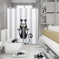 4Pcs Katze Wasserfest Duschvorhang Badezimmer Pad Toilette Teppiche Matte Mit K