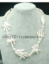 """freshwater pearl white unique baroque   necklace 18"""" wholesale beads nature big"""