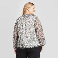 Women's Plus Size Floral Print Long Sleeve Tie Blouse - Ava & Viv Black 3X
