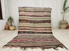 "Handmade Moroccan Vintage Carpet 4'6""x7'2"" Striped Faded Red Berber Wool Rug"
