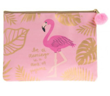 BE A FLAMINGO IN A FLOCK OF PIGEONS LARGE PURSE MAKE UP BAG POUCH PENCIL CASE