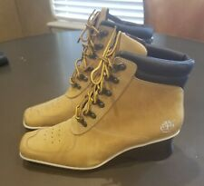 Timberland Wedge Heel Square Toe Ankle Boots Lace Up Women's size 8.5 M Tan