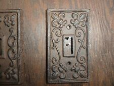 Cast Iron Single Light Switch Plate Toggle Shabby Cottage Fleur De Lis Chic