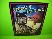 Bally HEAVY METAL MELTDOWN 1987 Original Pinball Machine Flipper Game Flyer