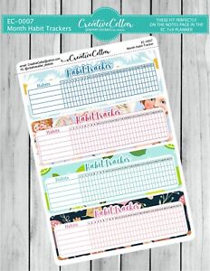 EC-0007 Monthly Habit Tracker Planner Stickers 7x9 life planner notes page