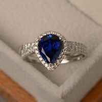 2.40 Ct Pear Diamond Natural Gemstone Blue Sapphire Ring 14K White Gold Size L K