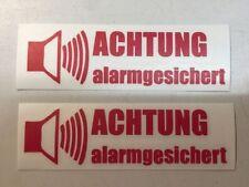 JDM OEM Aufkleber Achtung Alarmgesichert Shocker Tuning Folie Decal Rot 2 St.