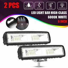 2x 6inch Led Work Lights 60w Driving Strip Flood Beam Light Bar 4wd Suv Offroad