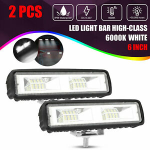 "2X 6""Inch LED Work Lights 60W Driving Strip Flood Beam light Bar 4WD SUV Offroad"