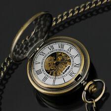 PACIFISTOR Herren Mechanical Uhr Taschenuhr Doppel Halbsavonnette Edelstahl