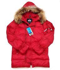 Alpha Industries Womens N-3B Echo Elite Jacket Red Winter Fur Trim Hood Sz Small