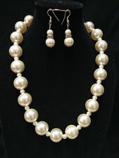 "Elegant Ivory Color 1 3/4""Size Simulate Pearl Bead Crystal Earring Necklace Set"