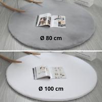 Teppich Rund Hochflor Plüsch Weich Kunstfell Matte Flokati Weiß Grau Ø 80 100 cm