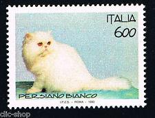 ITALIA 1 FRANCOBOLLO ANIMALI GATTO PERSIANO BIANCO 1993 nuovo**