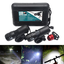 2Sets LED Flashlight Front Head Light Waterproof For Mountain Bike Zoomable UK