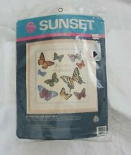 New ListingSunset, Butterflies Are Beautiful Needlepoint Kit New Vintage 14 x 14