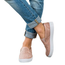 Womens Casual Canvas Slip On Flatform Shoe Flat Pump Ladies Boat Trainer Sneaker