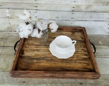 Rustic Serving Tray Coffee Table Bar Ottoman Handmade Reclaimed Wood Natural #59