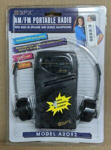 New GPX Portable AM/FM Radio Headset Headpones A2092 Vintage Sealed NOS