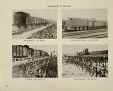 1916 WWI WW1 PRINT EAST PRUSSIA RAILWAY GERMAN PANZERZUG PIONEER BRIDGE