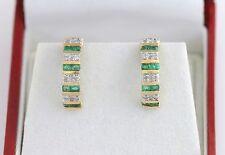 10K YG Gold Emerald & Diamond Earrings Huggie Pierced Half Hoop Channel Set Nice