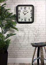 Orologio da parete nero con borchie francese vintage industriale in metallo con effetto invecchiato vetro quadrato