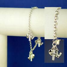 Sterling Silver Cross Anchor Heart Charm Bracelet