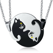 2Pcs Couple Cat Pendant Necklace Chain Link Puzzle Love Charm Jewelry Gift