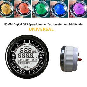 85mm Digital GPS Speedometer Tachometer Odometer 6in1 MultiFunction Gauge Meter
