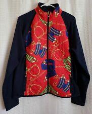 LRL Ralph Lauren Active Equestrian Horse Women's XL Red/Navy Zip Up Jacket