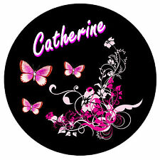 PINK/BLACK BUTTERFLY & FLOWER PERSONALISED FRIDGE MAGNET - ANY NAME - GIFT - NEW