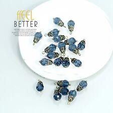 Perle Bleu Marine Verre Pour Boucles Collier Bracelet Doré LOT de 10 Pieces