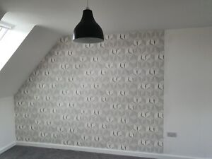 3D Geometric Feature Wall Wallpaper White Cube Illusion Funky Modern 622331 Wow