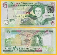 East Caribbean States 5 Dollars p-47 2008 UNC Banknote