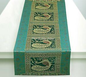 Traditional Peacock Wedding 5 Ft Table Cloth Green Brocade Satin Table Runner