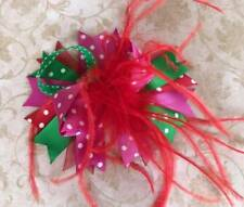 Red Green Pink Polka Dot Feather Christmas Hair Bow 5""