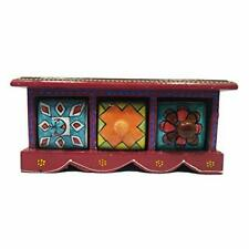 Jewelry Box Decorated Gift Handicraft Wooden & Ceramic Small Chest Of 3 Drawer