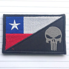 PUNISHER SKULL CHILE FLAG CHILEAN FLAG MORALE HOOK PATCH MILITARY TACTICAL