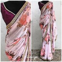 Sari Saree Designer Indian Wear Wedding Pakistani Blouse Party Bollywood New AN