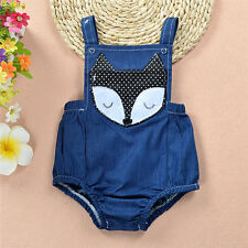 Toddler Kids Baby Girl Demin Romper Bodysuit One Piece Outfits Clothes 12-18M