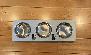 Cat Triple Bowls Feeding Station/Platform (handcrafted, ideal Christmas gift)