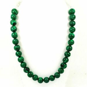 NATURAL GREEN MALACHITE GEMSTONE 14MM ROUND BEADS SILVER PLATED NECKLACE JEWELRY