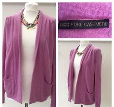 M&S Sz 16 Lavender Pure Cashmere Open Front Cardigan