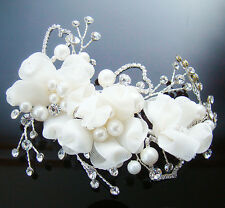 Floral Bridal Hair Pin Clips Swarovski Crystal Sterling Silver Frame Wedding 032