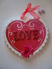 WOOD PINK & WHITE LOVE HEART VALENTINES DAY DECORATION WEDDINGS CHRISTMAS